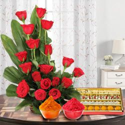 Exquisite 18 Red  Roses with delicious heavenly mixed Sweets