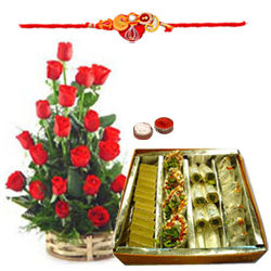 Elegant Rose Basket with Heavenly Collection of Sweets