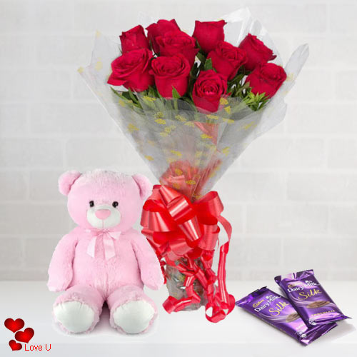 Send Red Roses Bouquet, Teddy N Chocolates for Rose Day