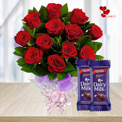 Deliver Dairy Milk Chocolates N Red Roses for Valentines Day