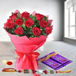Sweet Sensation Rose Bouquet with Dairy Milk Chocolates with Rakhi and Roli Tilak Chawal