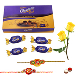 Cadburys Choclairs Gold Pack with 2 Rakhi with Two Yellow Rose