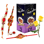 Cadbury's Chocolate Shots with 3 Rakhi with Two Red Rose