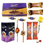 Cadbury's Assorted Chocolates with 2 Rakhi with One Yellow Rose