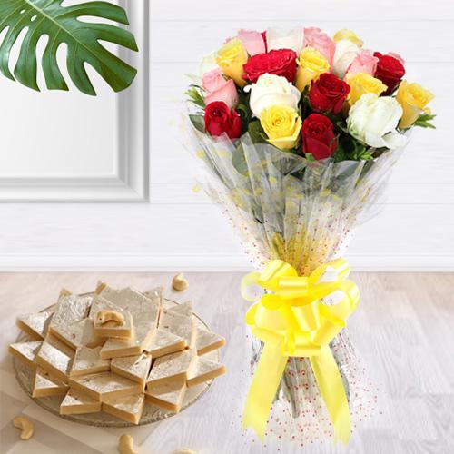 Deliver Combo of Mixed Roses Bouquet and Kaju Katli Online