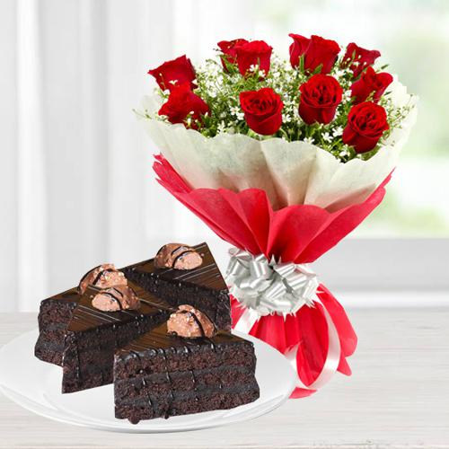 Exquisite Roses and Chocolate Combo