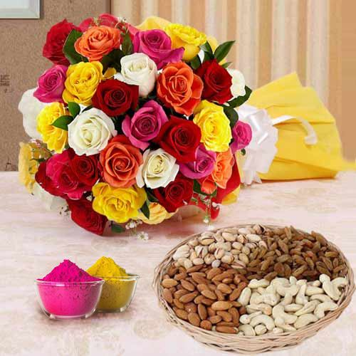 Adorable 2 dozen multicolored Roses with assorted Dry Fruits