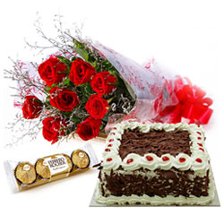Deliver Bouquet of Red Roses with Cake N Ferrero Rocher Chocolates Online