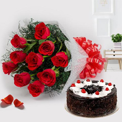 Cherished Black Forest Cake and Red Roses Bunch