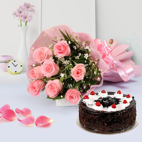 Shop Black Forest Cake N Bouquet of Pink Roses Online