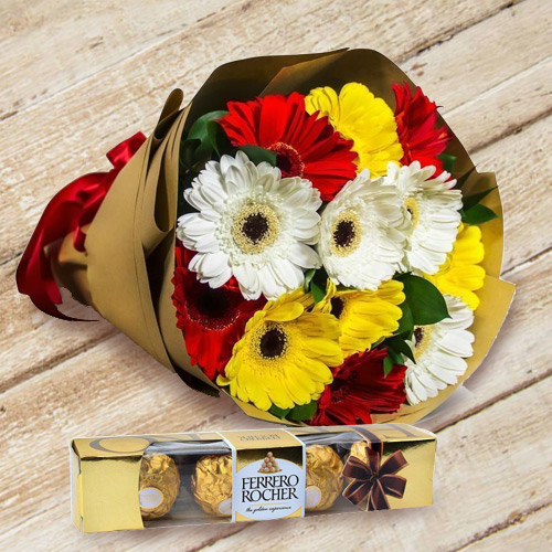 Online Order Ferrero Rocher with Gerbera Bouquet