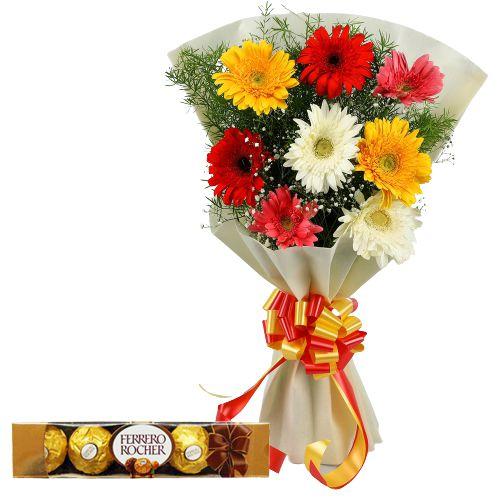 Online Order Ferrero Rocher with Gerbera Bouquet