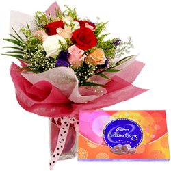 Deliver Combo Gift of Mixed Roses and Cadbury Celebration Online