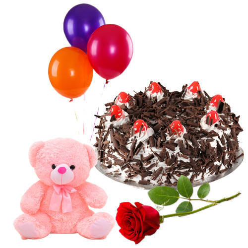 Buy Single Red Rose with Black Forest Cake, Teddy N Balloons Online