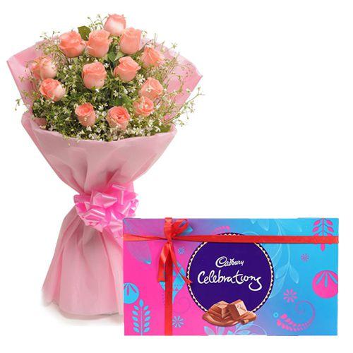 Order Combo Gift of Pink Roses N Cadbury Celebration Online
