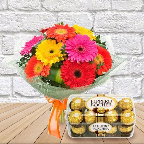 Send Combo of Mixed Gerbera Bouquet and Ferrero Rocher Chocolate Online