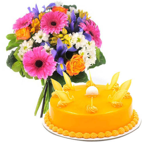 Send Mango Cake N Mixed Flowers Bouquet Online