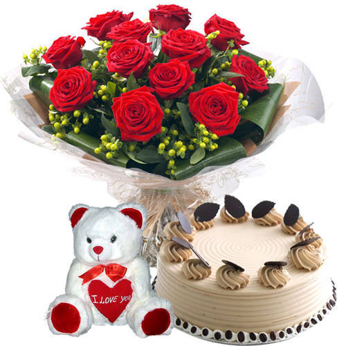 Shop Online Red Roses Bouquet with Coffee Cake N Teddy