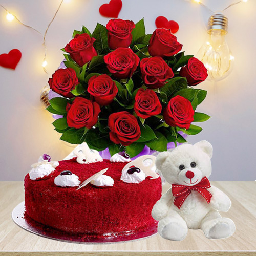 Online Red Velvet Cake with Red Roses Bouquet N Teddy