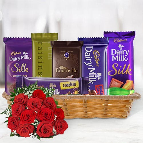 Online Gift Basket of Cadbury Chocolates with Red Roses
