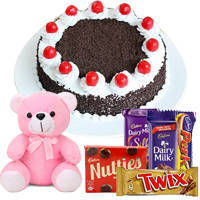 Signature 1 Lb Black Forest Cake with Assorted Cadburys Chocolate and a Small Teddy