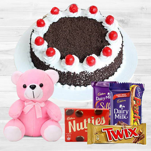 Buy Online Black Forest Cake with Assorted Cadbury Chocolates N Teddy
