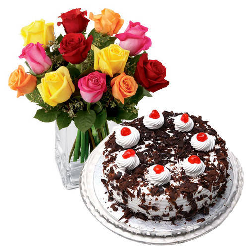 Order Online Mixed Roses with Black Forest Cake from Taj or 5 Star Bakery