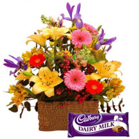 Order Mixed Flower Basket with Dairy Milk Chocolates Online