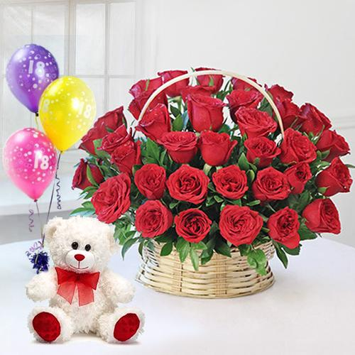 Shop Red Roses Basket with Ferrero Rocher Chocolates