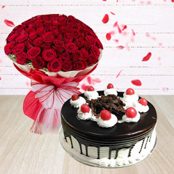 Dreamy Red Roses Bouquet and Black Forest Cake