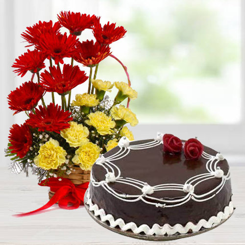 Gerberas N Carnations Arrangement with Chocolate Cake