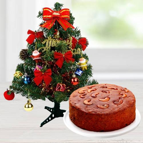 Christmas Gift of Nicely Wrapped 1 Ft Real looking artificial Christmas Tree with decorations like Bell, Star etc. & 1 Lbs. Plum/Fruit Cake.