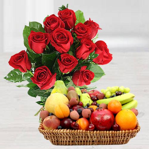 Send Red Roses Bunch N Fruits Basket Online