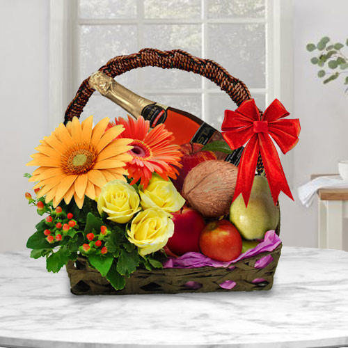 Gift Online Fruits Basket with Mixed Flowers n Fruits Juice
