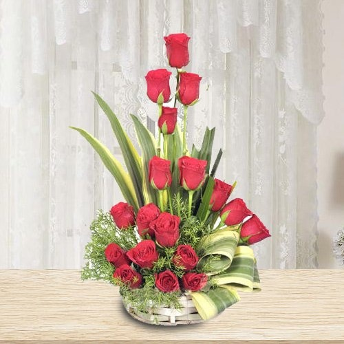 18 Pcs Red Dutch Roses Arranged in a Basket with Greens , Fillers to show how much you are missing them