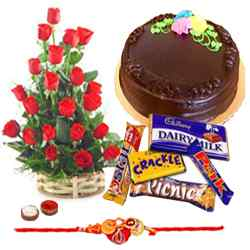 Delicious Cake of 1 Lb., Chocolates, 24 Red Roses and a Rakhi