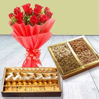 Red Rose Bouquet with Assorted Sweets and Dry Fruits