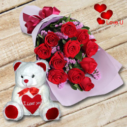 Dutch Red Roses n Huggable 12 inch Teddy Bear