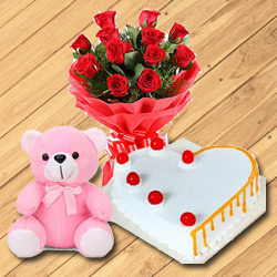 Dozen Red Roses with Teddy Bear n Cake