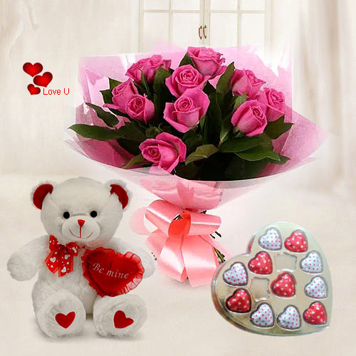 Hug Day Gift of Teddy with Pink Roses N Heart Shape Chocolates