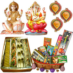 Lakshmi Ganesh Idols,Haldiram  Assorted sweets, Crackers and Diya