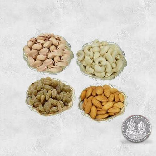 Dry Fruits in Silver Bowls