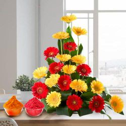 Bouquet of beautiful assorted brightly hued Gerberas