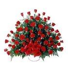 100 Enchanting Red Dutch Roses Arrangement