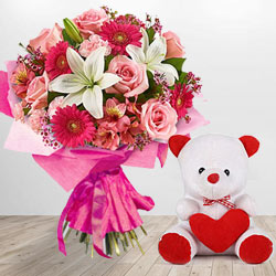 Special Teddy Bear and Assortment of Flowers