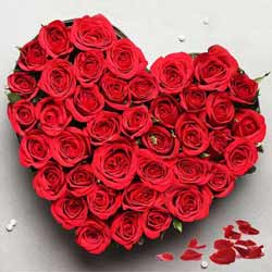 Splendid Heart-shaped Arrangement of 2 Dozen Red Roses