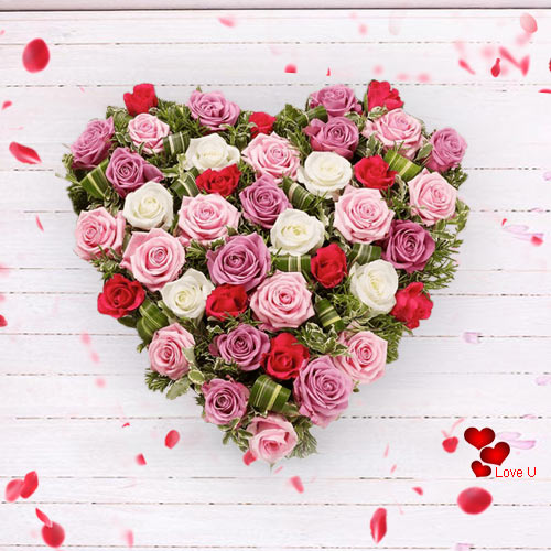 V-Day Arranged Heart Shape of Mixed Roses