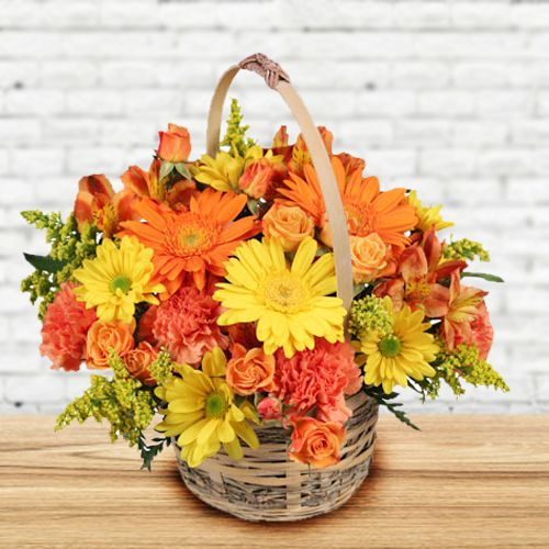 Buy Arrangement of Mixed Flowers Basket Online