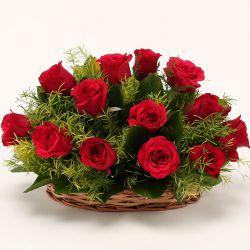 Red Dutch Roses Basket