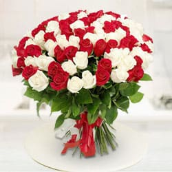 Heavenly Dazzle Red  N  White Roses Premium Bouquet